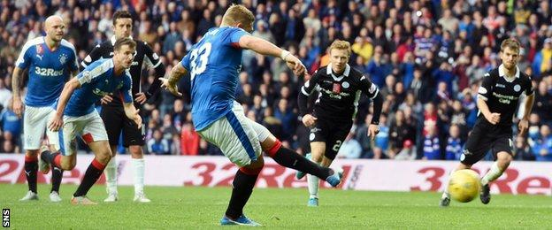 Rangers' Martyn Waghorn has a penalty saved in the 2-1 win over Queen of the South