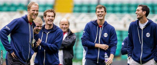 Britain's Davis Cup stars enjoyed their visit to Celtic Park