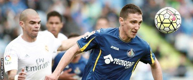 Stefan Scepovic in action for Getafe against Real Madrid