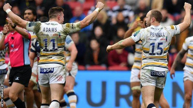 Worcester celebrate beating Bristol