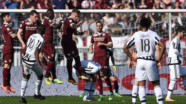Paul Pogba scores for Juventus at Torino