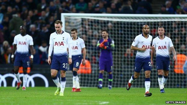 Tottenham players after Wolves goal