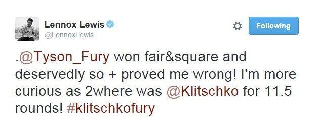 Lennox Lewis Tweet