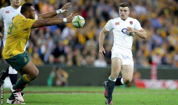 George Ford kicks through for Jack Nowell to score