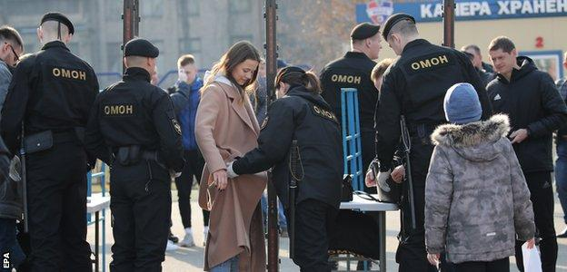 Checks were carried out before fans were allowed to enter the stadium for the Minsk derby