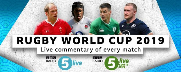 Graphic advertising that BBC Radio 5 Live will have live commentary of every match at the Rugby World Cup