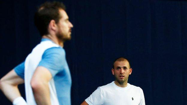 British pair Andy Murray and Dan Evans warm up for the Battle of the Bits event