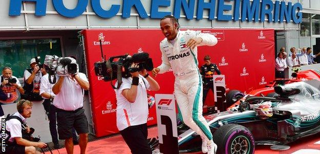 Mercedes F1 driver Lewis Hamilton celebrates winning the 2018 German Grand Prix