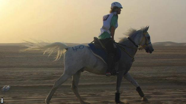 Endurance racer Avril Bray guides Moro Torcaz through the sand