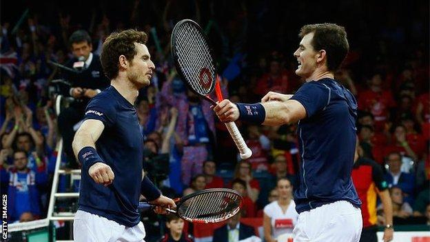 Andy and Jamie Murray celebrate winning the Davis Cup for Britain