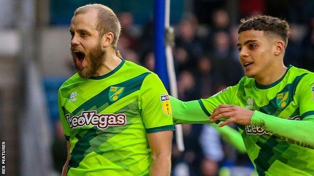 Teemu Pukki (left) celebrates his goal for Norwich City