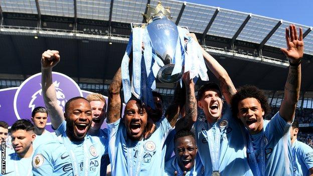 Fabian Delph lifts Premier League trophy