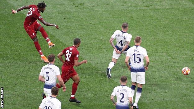 Divock Origi scores Liverpool's second goal in their 2-0 win over Tottenham in the 2019 Champions League final