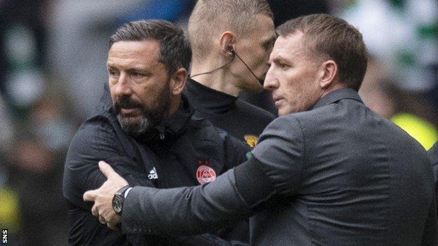 Aberdeen manager Derek McInnes and Celtic's Brendan Rodgers shake hands