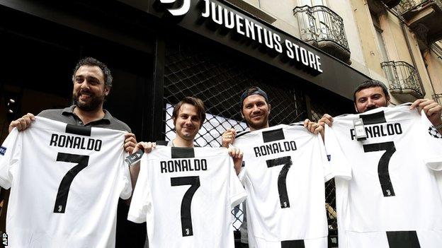 Juventus fans with Cristiano Ronaldo shirts