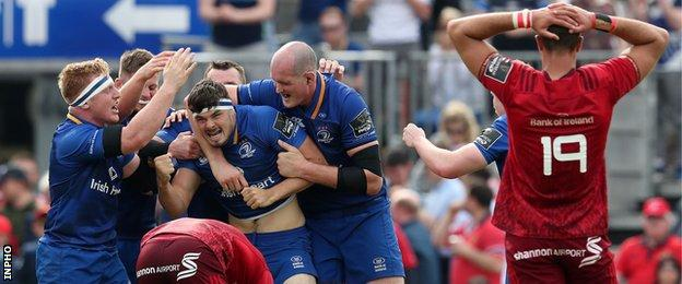 Leinster celebrate the win which sets up a final meeting with Pro14 holders Scarlets
