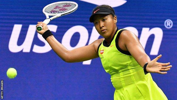 Naomi Osaka plays a forehand shot during the 2021 US Open