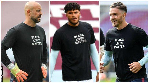 Aston Villa players warming up wearing Black Lives Matter shirts