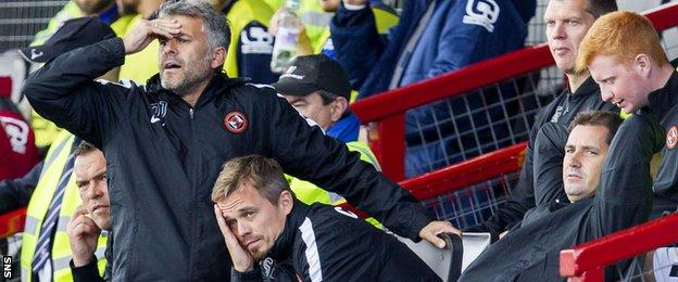 The Dundee United management team appear to be suffering as they watch their team trail