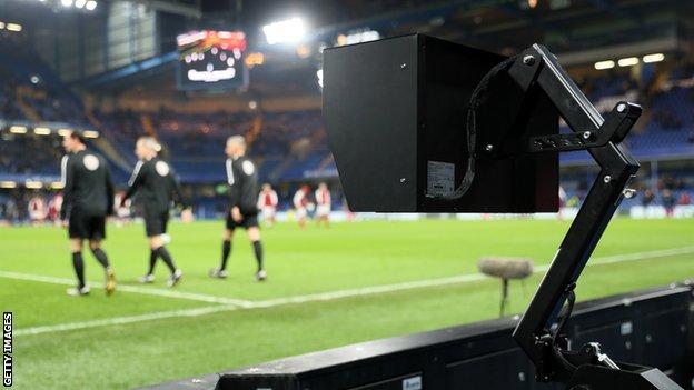 VAR monitor at Stamford Bridge