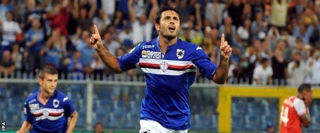 Sampdoria's Martin Eder celebrates