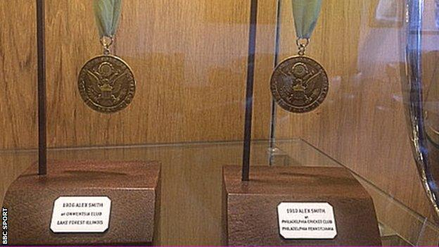 Alex Smith's two US Open winners medals are displayed at Carnoustie