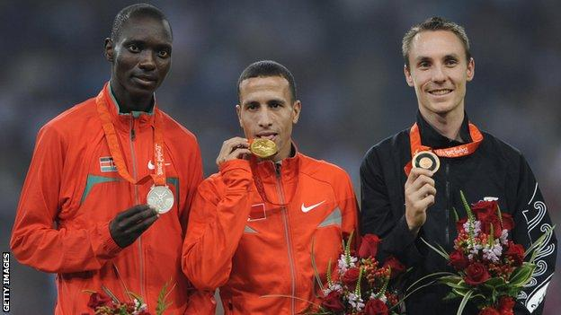 Asbel Kiprop on Beijing 2008 Olympic podium