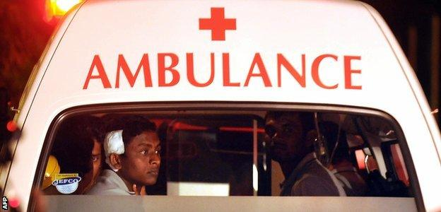 Ajantha Mendis in an ambulance