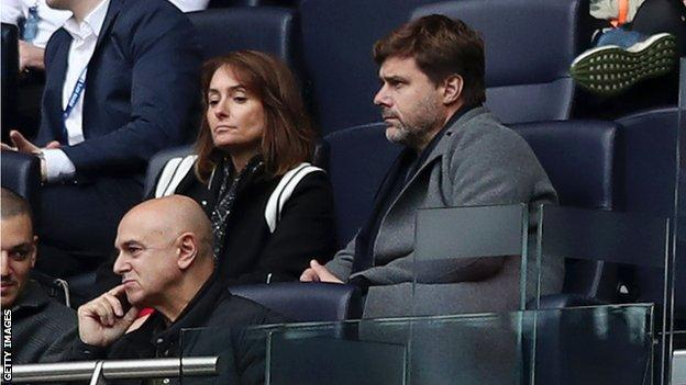 Mauricio Pochettino in the stands during the NFL game between Carolina Panthers and Tampa Bay Buccaneers at Tottenham Hotspur Stadium on October 13, 2019