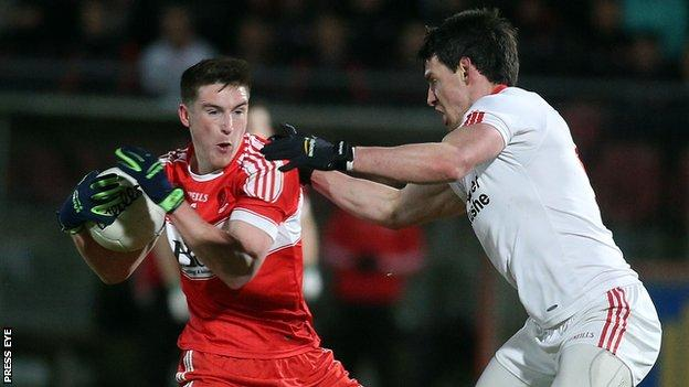 Gareth McKinless and Mattie Donnelly in action as Tyrone beat Derry at Healy Park