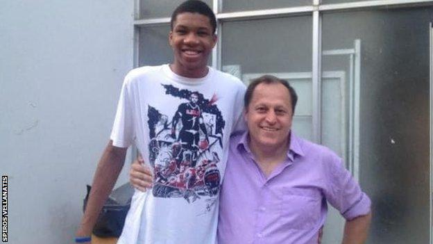 Giannis Antetokounmpo pictured as a teenager with Spiros Vellanatis