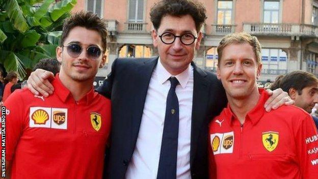 Charles Leclerc and Sebastian Vettel with Ferrari team boss Mattia Binotto