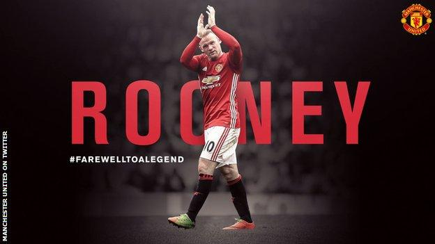 Manchester United posted this message on social media on Sunday to mark Rooney's exit