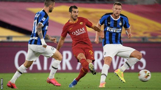 Henrikh Mkhitaryan playing for Roma