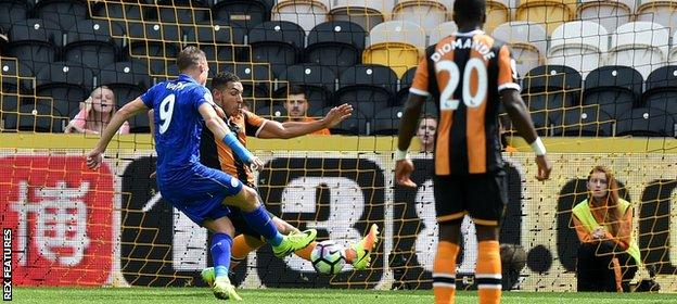 Vardy was only denied a goal against Hull by this Jake Livermore block