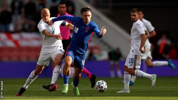Jack Grealish in action for England against Romania