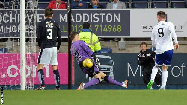 Rory McAllister knocks in his third goal at the Falkirk Stadium