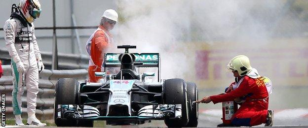Lewis Hamilton's car sets on fire during Q1 of the Hungarian grand prix