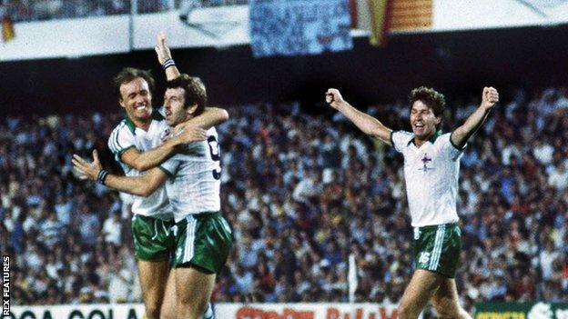 Gerry Armstrong celebrates scoring against Spain