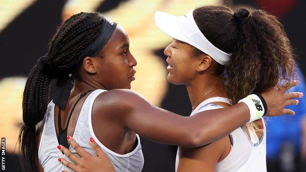 Coco Gauff and Naomi Osaka embrace after their match at the 2020 Australian Open