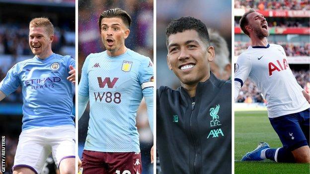 Kevin de Bruyne (Man City), Jack Grealish (Aston Villa), Roberto Firmino (Liverpool), Christian Eriksen (Spurs)