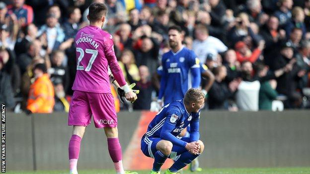 Dejected Cardiff players reflect on their loss at arch-rivals Swansea