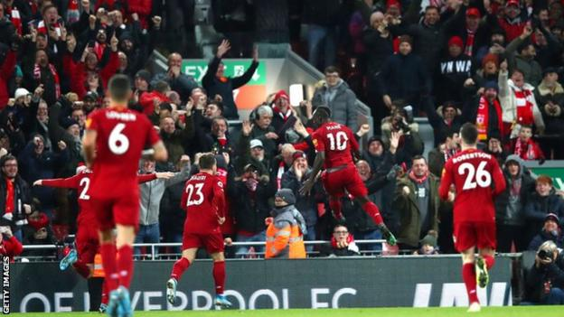 Liverpool celebrating with fans