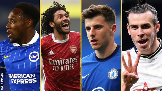 Danny Welbeck, Mohammed Elneny, Mason Mount, Gareth Bale