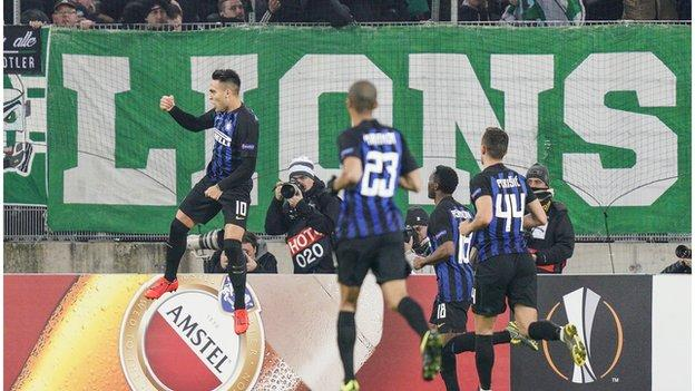 Lautaro Martinez celebrating scoring for Inter Milan against Rapid Vienna