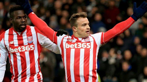 Swiss winger Xherdan Shaqiri's stunning first goal at the Britannia Stadium earned Stoke City all three points against Newcastle