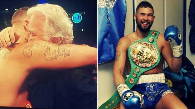 Bellew with Everton chairman Bill Kenwright and with the WBC world cruiserweight title in the Goodison Park changing rooms