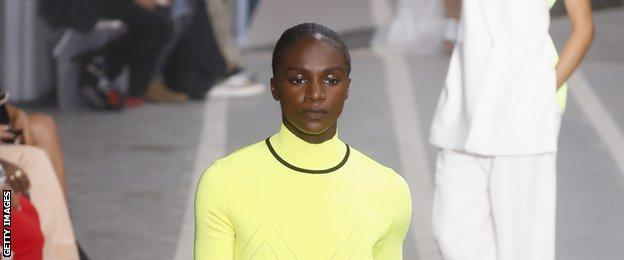Dina Asher-Smith at Paris Fashion Week