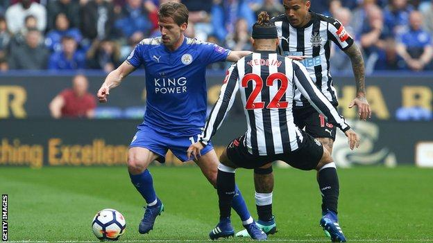 Leicester midfielder Adrien Silva in action against Newcastle