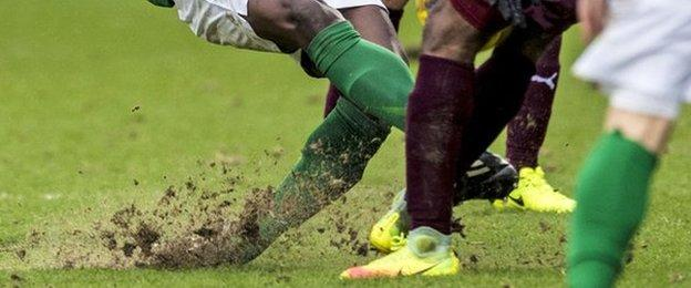 The Tynecastle pitch has deteriorated badly